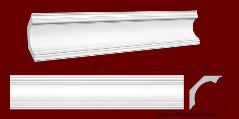 Код товара КЛ0700751. Карниз из гипса длиной 810мм., стыкуеться с КР070075БВ, КР070075МВ, КР070075У. Габариты: 70мм х 75мм. Розничная цена 95 грн/шт