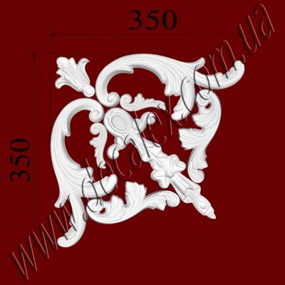 Рис. УН42. Гипсовый наборной угол составлен из элементов орнамента: ФР0008 (2шт), ФР0011 (2шт), ФР0013 (1шт),  ФР0015 (2шт), ФР0066 (1шт) - 260 грн/1 угол