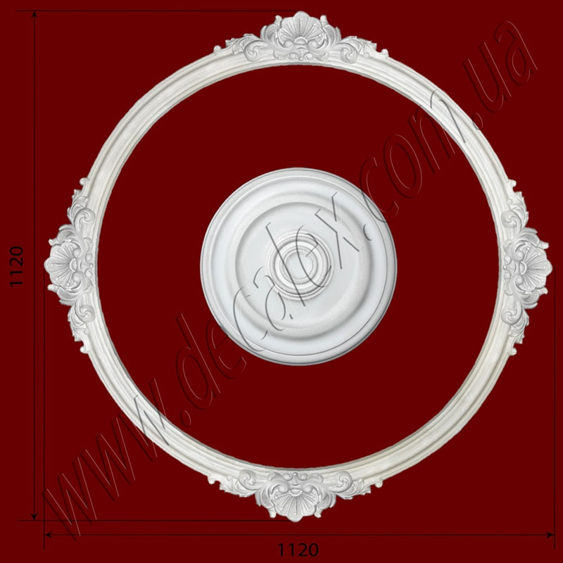 Рис. РН37. Наборная потолочная розетка составлена из элементов орнамента: ДГ0001 (4шт), потолочная розетка РЗ 4001(1шт). Розничная цена элементов составляет 1050 грн.