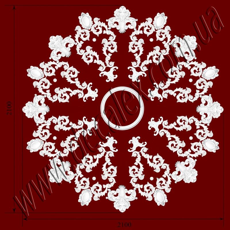 Рис. РН73. Наборная потолочная розетка составлена из элементов орнамента: ФР00291 (32шт),ФР0040 (8шт), ФР0054 (8шт), ФР0087 (8шт), ФР0097 (8шт), РЗ 4401 (1шт). Розничная цена элементов составляет 6510 грн.