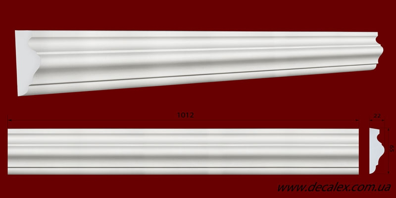 Код товара МЛ06501. Молдинг из гипса шириной 65 мм и длиной 1012 мм. Розничная цена 75 грн./шт.