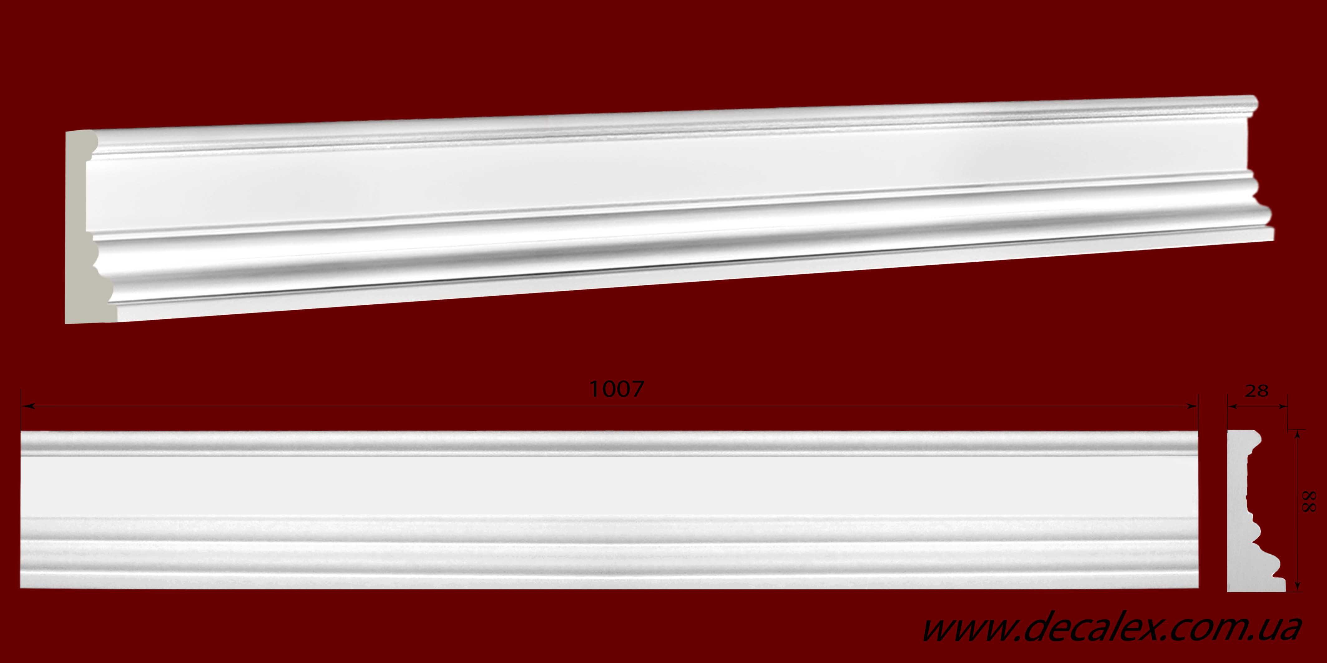 Код товара МЛ08801. Молдинг из гипса шириной 88 мм и длиной 1007 мм. Розничная цена 120 грн./шт.