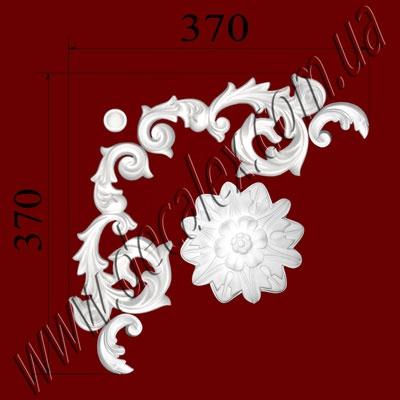 Рис. УН33. Гипсовый наборной угол составлен из элементов орнамента: ФР00291 (2шт), ФР0040 (1шт), ФР0061 (1шт), ФР0062 (2шт) - 330 грн/1 угол