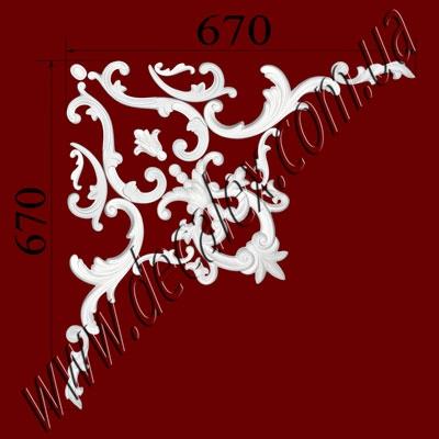 Рис. УН58. Гипсовый наборной угол составлен из элементов орнамента: ФР0011 (2шт), ФР0013 (1шт), ФР0014 (1шт),  ФР0019 (2шт), ФР0052 (2шт), ФР0065 (1шт), ФР0098 (2шт), ФР0099 (2шт), ФР0101 (2шт) - 705 грн/1 угол