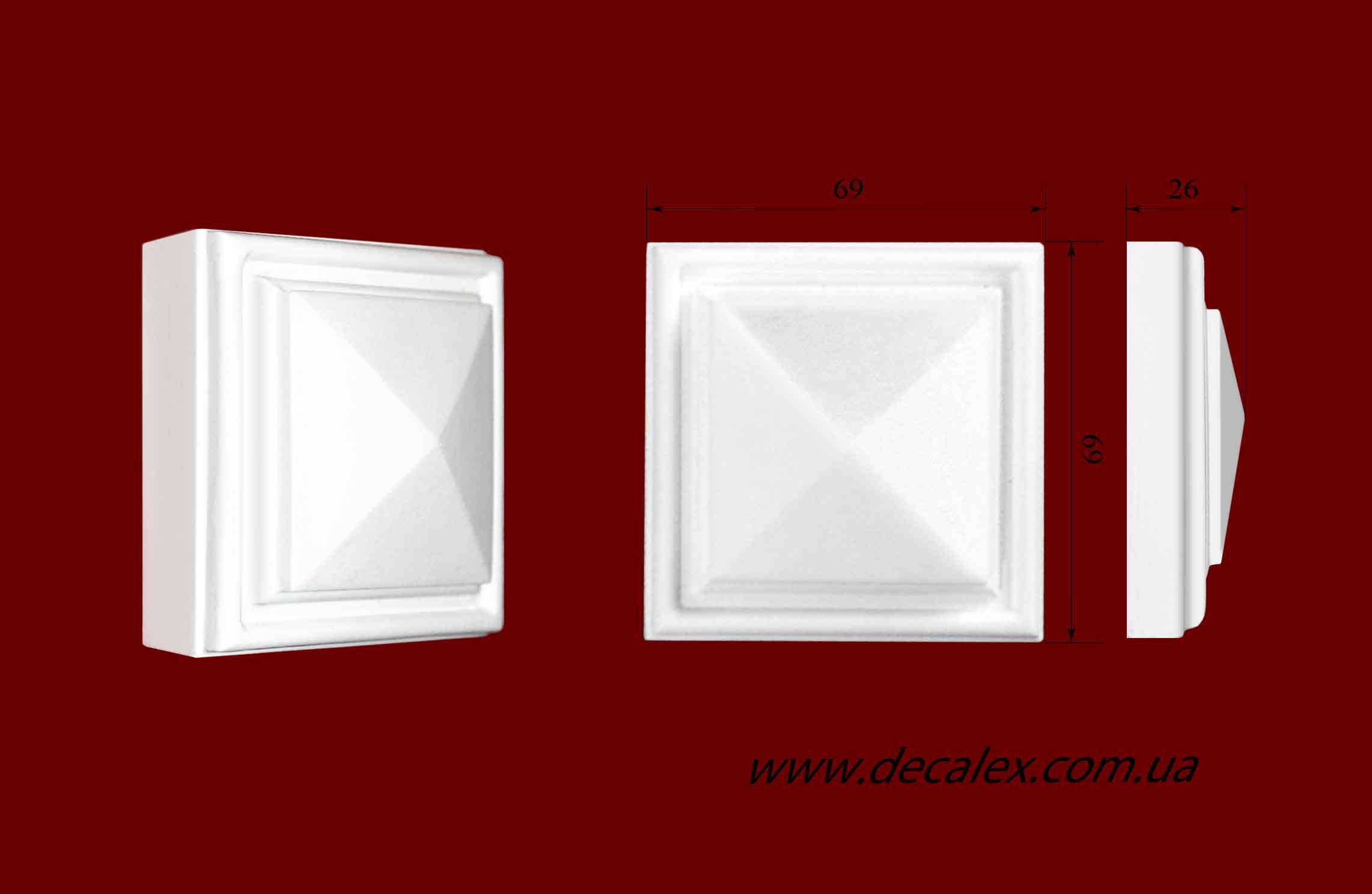 Код товара КВ0012.  Элемент оформления дверных проемов: квадратная вставка из гипса. Розничная цена 45 грн./шт.