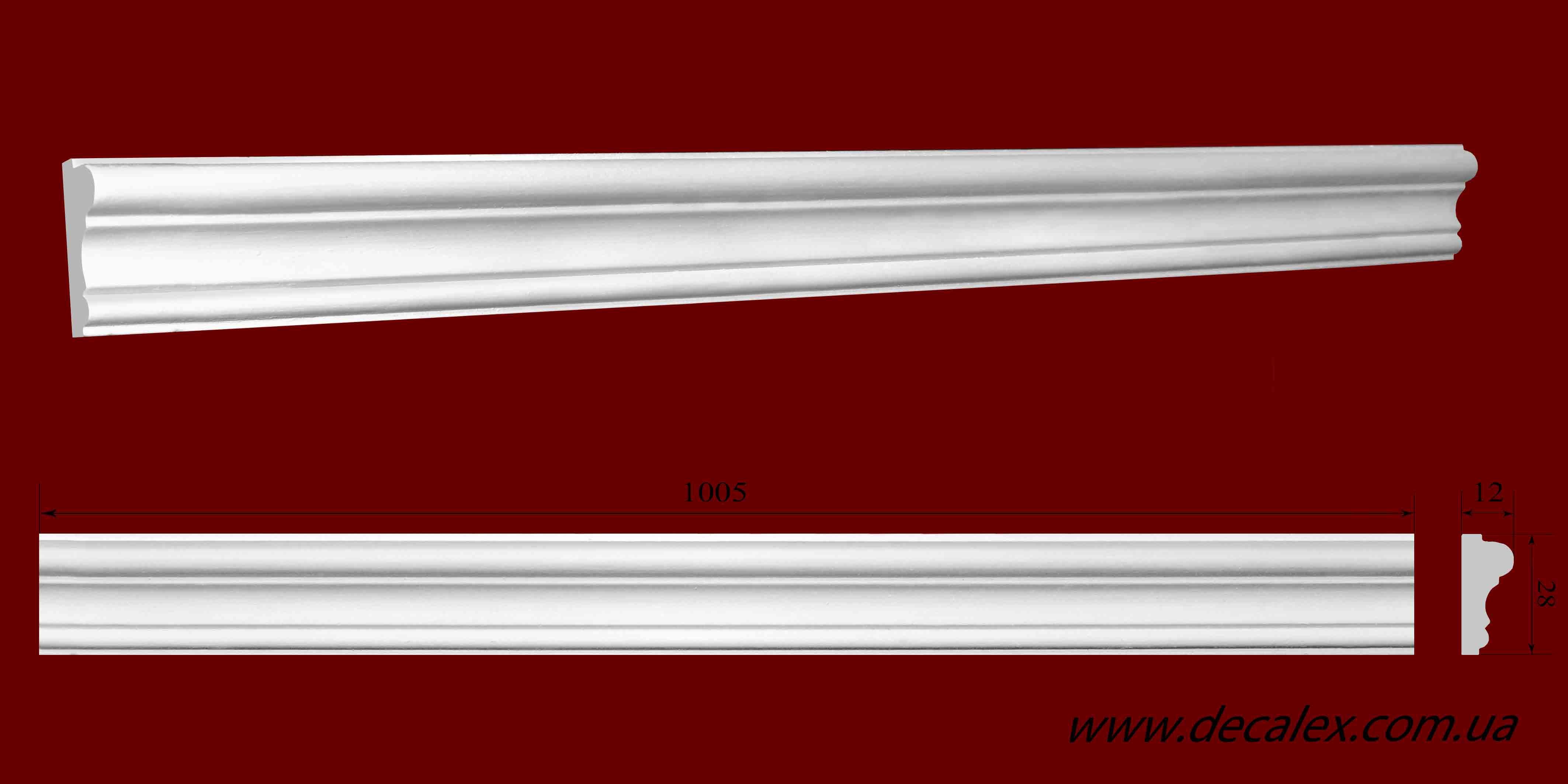 Код товара МЛ02801.Молдинг из гипса шириной 28 мм и длиной 1005 мм. Розничная цена 45 грн./шт.
