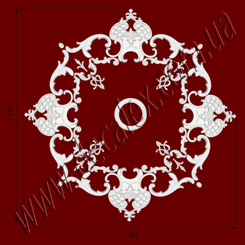 Рис. РН52. Наборная потолочная розетка составлена из элементов орнамента: ФР0004 (4шт), ФР0011 (8шт), ФР0014 (4шт), ФР0032 (4шт), ФР0052 (8шт), ФР0079 (4шт), ФР0082 (8шт), РЗ180 (1шт) .Розничная цена элементов составляет 1605 грн.