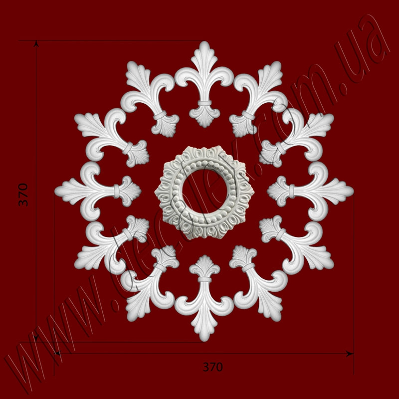 Рис. РН04. Наборная потолочная розетка составлена из элементов орнамента: ФР0046 (12шт), накладка РЗ13 (1шт). Розничная цена элементов составляет 550 грн.