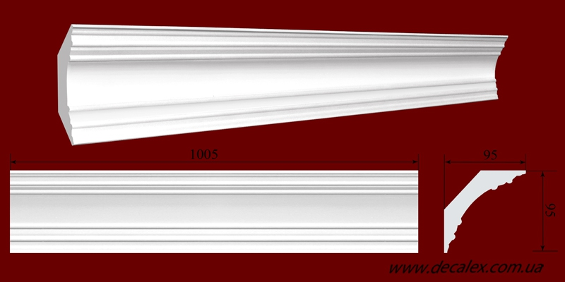 Код товара КЛ0950951. Карниз из гипса длиной 1005мм., стыкуеться с КР0950952 и КР0950952У. Габариты: 95мм х 95мм. Розничная цена 140 грн/шт.