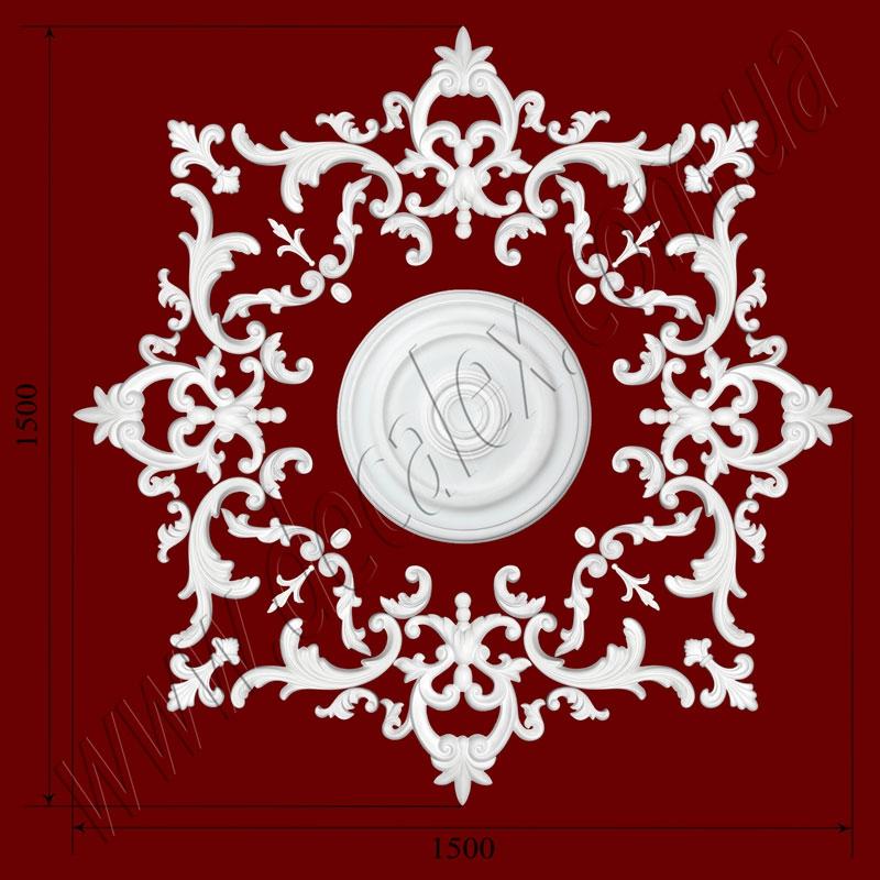 Рис. РН62. Наборная потолочная розетка составлена из элементов орнамента: ФР0011 (8шт), ФР0014 (4шт), ФР0032 (4шт), ФР0047 (4шт), ФР0052 (8шт), ФР0062 (8шт), ФР0065 (4шт), ФР0082 (8шт),РЗ 4001 (1шт). Розничная цена элементов составляет 2110 грн.