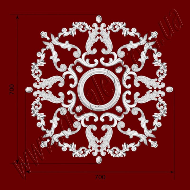 Рис. РН32. Наборная потолочная розетка составлена из элементов орнамента: ФР0014 (8шт), ФР0018 (4шт), ФР0033 (8шт), ФР0034 (8шт), ФР0052 (8шт), ФР0053 (8шт), потолочная розетка РЗ180 (1шт). Розничная цена элементов составляет 1285 грн.