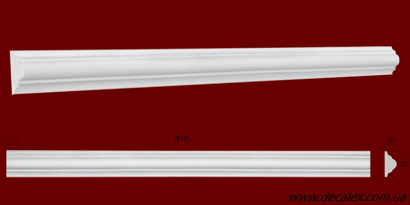 Код товара МЛ02501. Молдинг из гипса шириной 25 мм и длиной 818 мм. Розничная цена 35 грн./шт.
