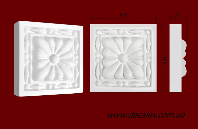 Код товара КВ0010 (a). Элемент оформления дверных проемов: квадратная вставка из гипса. Розничная цена 50 грн./шт.