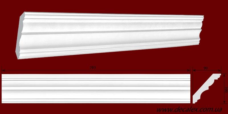Код товара КЛ1000901. Карниз из гипса длиной 795мм. Габариты: 100мм х 90мм. Розничная цена 125 грн/шт.
