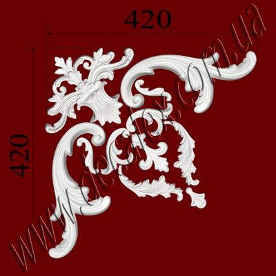 Рис. УН11. Гипсовый наборной угол составлен из элементов орнамента: ФР0042 (1шт), ФР0011 (2шт), ФР0019 (2шт), ФР0034 (2шт), ФР0009 (2шт), ФР0046 (1шт), ФР0018 (1шт) - 390 грн/1 угол