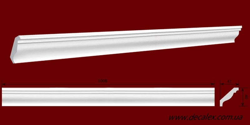 Код товара КЛ0400421. Карниз из гипса длиной 1008мм. Габариты: 40мм х 42мм. Розничная цена 80 грн/шт.
