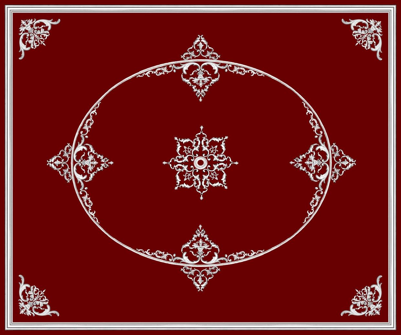 Рис. П002. Размер потолка: 3500х4200 мм.. По краям потолка использован молдинг: МЛ8501 (20шт); МР0271 (9шт по заданому радиусу). Наборной угол состоит из элементов орнамента: ФР0011 (2шт); ФР0015 (2шт); ФР0034 (2шт); ФР0019 (4шт); ФР0018 (1шт); ФР0032 (1шт); ФР0042 (1шт). Композиция с внешней стороны эллипса состоит из орнамента: ФР0027 (2шт); ФР0009 (2шт); ФР0019 (2шт); ФР0013 (1шт). Узор с внутренней стороны эллипса составлен из элементов орнамента: ФР0011 (2шт); ФР0009 (2шт); ФР0033 (2шт); ФР0018 (1шт); ФР0019 (4шт); ФР0042 (1шт); ФР0027 (2шт); ФР0034 (2шт); ФР0014 (2шт). Наборная потолочная розетка состоит из элементов орнамента: ФР0027 (8шт); ФР0009 (8шт); ФР0004 (4шт); ФР0019 (8шт); ФР0018 (8шт), потолочная розетка РЗ12 (1шт).