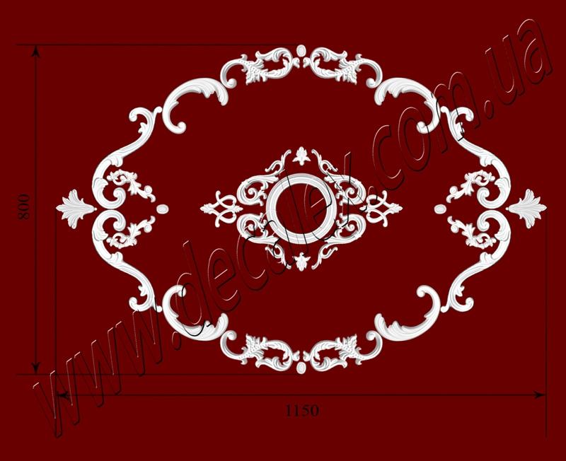 Рис. РН81. Наборная потолочная розетка составлена из элементов орнамента: ФР0004 (2шт), ФР0014 (4шт), ФР0027 (4шт), ФР0033 (4шт), ФР0092 (2шт), ФР0098 (4шт), ФР0103 (4шт), ФР0108 (4шт), ФР0113 (2шт) потолочная розетка РЗ 180 (1шт). Розничная цена элементов составляет 1145 грн.