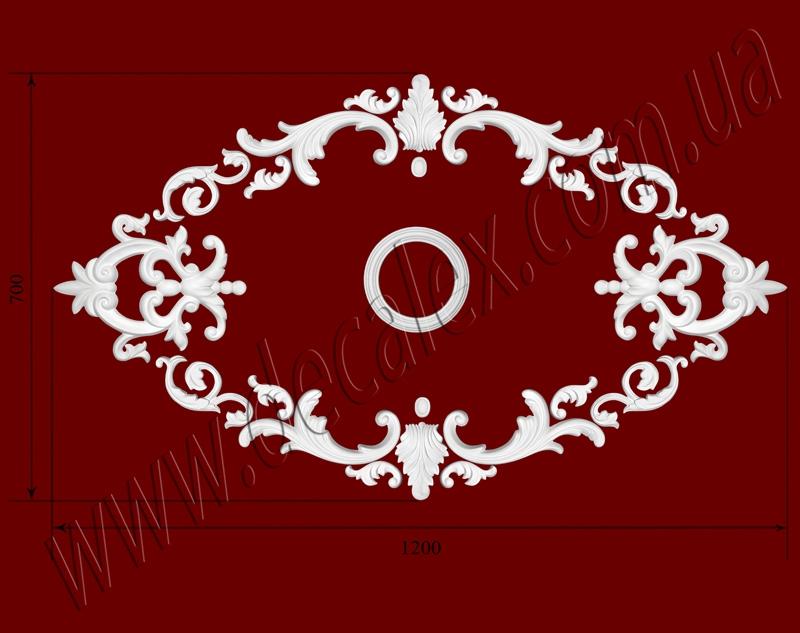Рис. РН64. Наборная потолочная розетка составлена из элементов орнамента: ФР0011 (4шт), ФР0014 (2шт), ФР0065 (2шт), ФР0082 (8шт), ФР0090 (2шт), ФР0091 (4шт), потолочная розетка РЗ 180 (1шт). Розничная цена элементов составляет 905 грн.