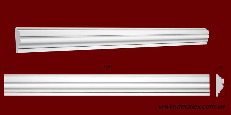 Код товара МЛ05003. Молдинг из гипса шириной 50 мм и длиной 1000 мм. Розничная цена 60 грн./шт.