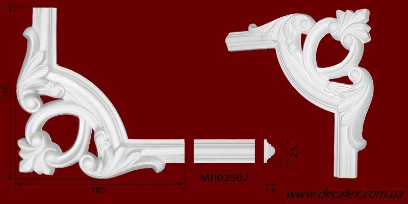 Код товара ГЛ02502-1. Угловой элемент из гипса шириной 25 мм., стыкуется с МЛ02502. Розничная цена 60 грн./шт.