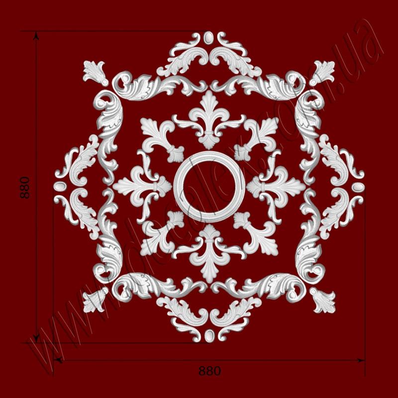 Рис. РН30. Наборная потолочная розетка составлена из элементов орнамента: ФР0013 (4шт), ФР0014 (4шт),ФР46 (8шт), ФР0019 (16шт), ФР0028 (8шт), ФР0053 (8шт), потолочная розетка РЗ180 (1шт). Розничная цена элементов составляет 1325 грн.