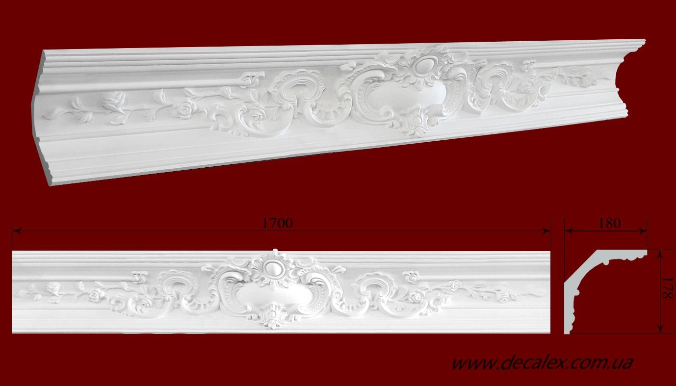 Код товара КР1801781Ц. Карниз из гипса длиной 1700мм.Стыкуется с гладкотянутым КЛ1801781 и углом КР1801781У . Габариты: 180мм х 178мм. Розничная цена 850 грн/шт.Минимальный заказ 4 штуки.