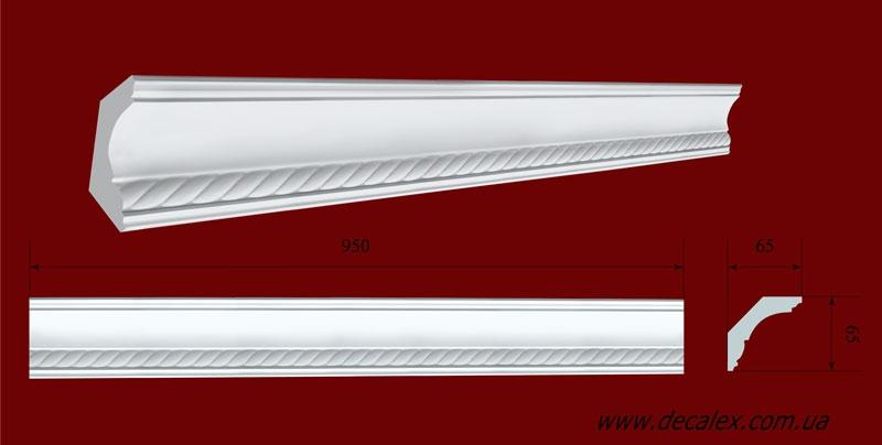Код товара КР0650651. Карниз из гипса длиной 950мм. Габариты: 65 мм х 65 мм. Розничная цена 105 грн./шт.