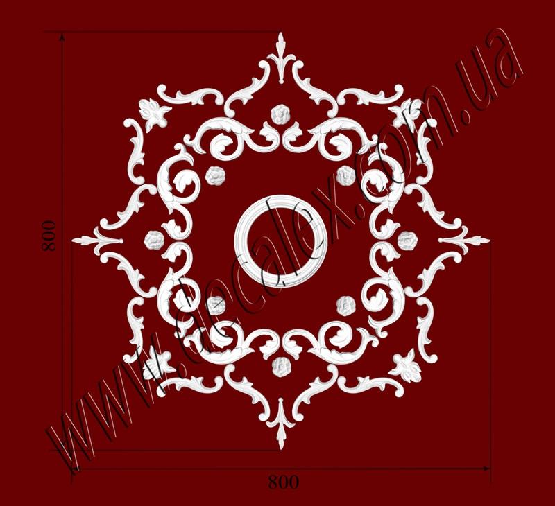 Рис. РН83. Наборная потолочная розетка составлена из элементов орнамента: ФР0032 (4шт), ФР0058 (8шт), ФР0091 (8шт), ФР0092 (4шт), ФР0101 (16шт) потолочная розетка РЗ 180 (1шт). Розничная цена элементов составляет 1085 грн.