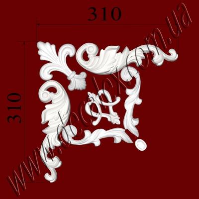 Рис. УН13. Гипсовый наборной угол составлен из элементов орнамента: ФР0004 (1шт), ФР0014 (1шт), ФР0028 (2шт), ФР0047 (1шт), ФР0052 (2шт) - 250 грн /1 угол