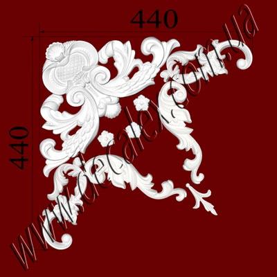 Рис. УН48. Гипсовый наборной угол составлен из элементов орнамента: ФР0027 (2шт), ФР0028 (2шт),  ФР0032 (1шт), ФР0056 (3шт), ФР0074 (1шт) - 415 грн/1 угол