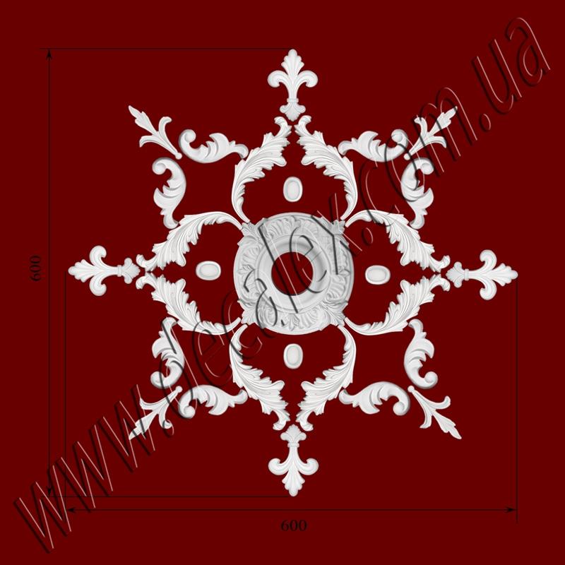 Рис. РН53. Наборная потолочная розетка составлена из элементов орнамента: ФР0009 (8шт), ФР0014 (4шт), ФР0032 (4шт), ФР0046 (4шт), ФР0082 (8шт), РЗ10 (1шт). Розничная цена элементов составляет 740 грн.