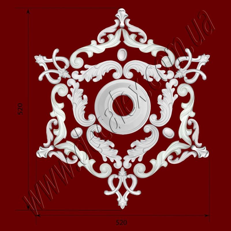 Рис. РН16. Наборная потолочная розетка составлена из элементов орнамента: ФР0004 (3шт), ФР0014 (3шт), ФР0018 (3шт), ФР0019 (6шт), ФР0052 (6шт), ФР0053 (6шт), потолочная розетка РЗ12 (1шт). Розничная цена элементов составляет 740 грн.
