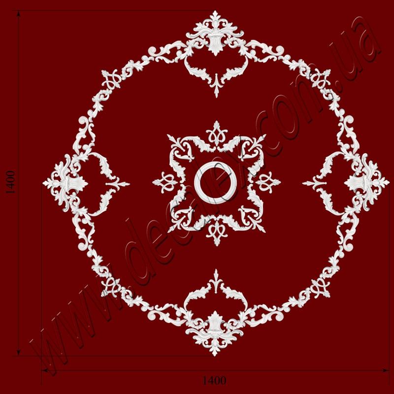 Рис. РН59. Наборная потолочная розетка составлена из элементов орнамента: ФР0004 (8шт), ФР0009 (16шт),ФР0019 (16шт), ФР0032(8шт), ФР0033 (16шт), ФР0042 (4шт), ФР0052 (8шт), РЗ 180 (1шт). Розничная цена элементов составляет 2525 грн.