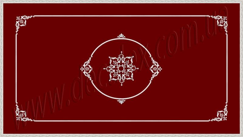 Рис. П013. Размер потолка: 3100х5500 мм..По краям потолка использован карниз: КР70702 (18шт). Рамка состоит из молдинга: МЛ2502 (12шт), ГЛ2502-5 (8шт). Наборной угол составлен из элементов орнамента: ФР0004 (1шт), ФР0009 (2шт), ФР0014 (1шт), ФР0027 (2шт), ФР0033 (2шт). Эллипс с орнаментом состоит из элементов: МЛ2502 (4шт по заданому радиусу), ГЛ2502-5 (4шт), ФР0004 (2шт), ФР0009 (4шт), ФР0014 (2шт), ФР0027 (4шт), ФР0033 (4шт), ФР0030 (2шт). Наборная потолочная розетка составлена из элементов орнамента: ФР0027 (8шт); ФР0009 (8шт); ФР0004 (4шт); ФР0019 (8шт); ФР0018 (8шт), потолочная розетка РЗ 180 (1шт).