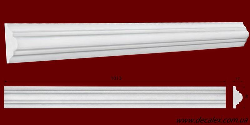 Код товара МЛ04001. Молдинг из гипса шириной 40 мм и длиной 1013 мм. Розничная цена 50 грн./шт.