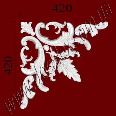 Рис. УН07. Гипсовый наборной угол составлен из элементов орнамента: ФР0013 (1шт), ФР0011 (2шт), ФР0034 (2шт), ФР0015 (2шт), ФР0009 (2шт), ФР0014 (1шт), ФР0010 (1шт) - 455грн/1 угол
