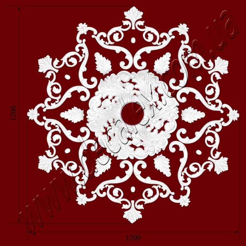 Рис. РН65. Наборная потолочная розетка составлена из элементов орнамента: ФР0014 (6шт), ФР0031 (6шт), ФР0090 (6шт), ФР0091 (12шт), ФР0095 (6шт), ФР0098 (12шт), РЗ 5201 (1шт). Розничная цена элементов составляет 2180 грн.