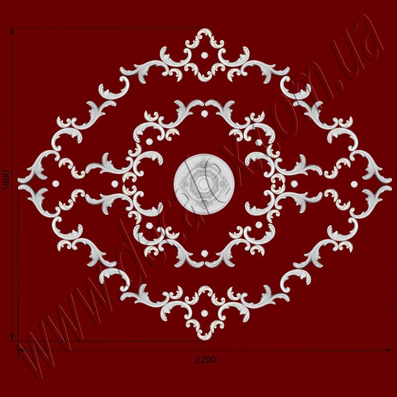 Рис. РН39. Наборная потолочная розетка составлена из элементов орнамента: ФР0011 (20шт),ФР0103 (20шт), ФР0040 (12шт), ФР0061 (44шт), потолочная розетка РЗ 3501 (1шт). Розничная цена элементов составляет 3210 грн.