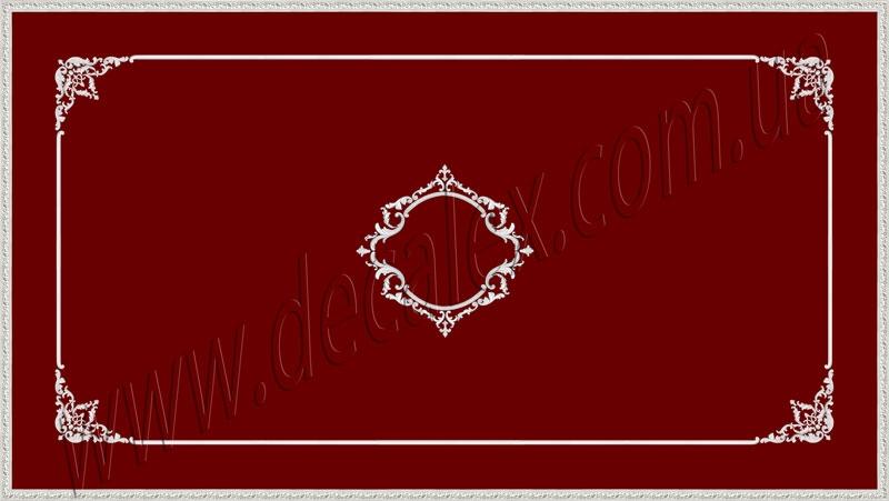 Рис. П015. Размер потолка: 3100х5500 мм..По краям потолка использован карниз: КР70702 (18шт). Рамка состоит из молдинга: МЛ2502 (12шт), ГЛ2502-5 (8шт). Наборной угол составлен из элементов орнамента: ФР0018 (2шт), ФР0028 (2шт), ФР0015 (2шт), ФР0034 (2шт), ФР0009 (4шт),ФР0004 (1шт), ФР0014 (1шт). Наборная потолочная розетка составлена из элементов орнамента: ФР0009 (4шт), ФР0011 (4шт), ФР0013 (2шт), ФР0015 (4шт), ФР0019 (4шт), ФР0034 (4шт), ФР0046 (2шт), ФР0052 (4шт), МЛ2501 (2шт по заданому радиусу), ГЛ2501-1 (4шт).