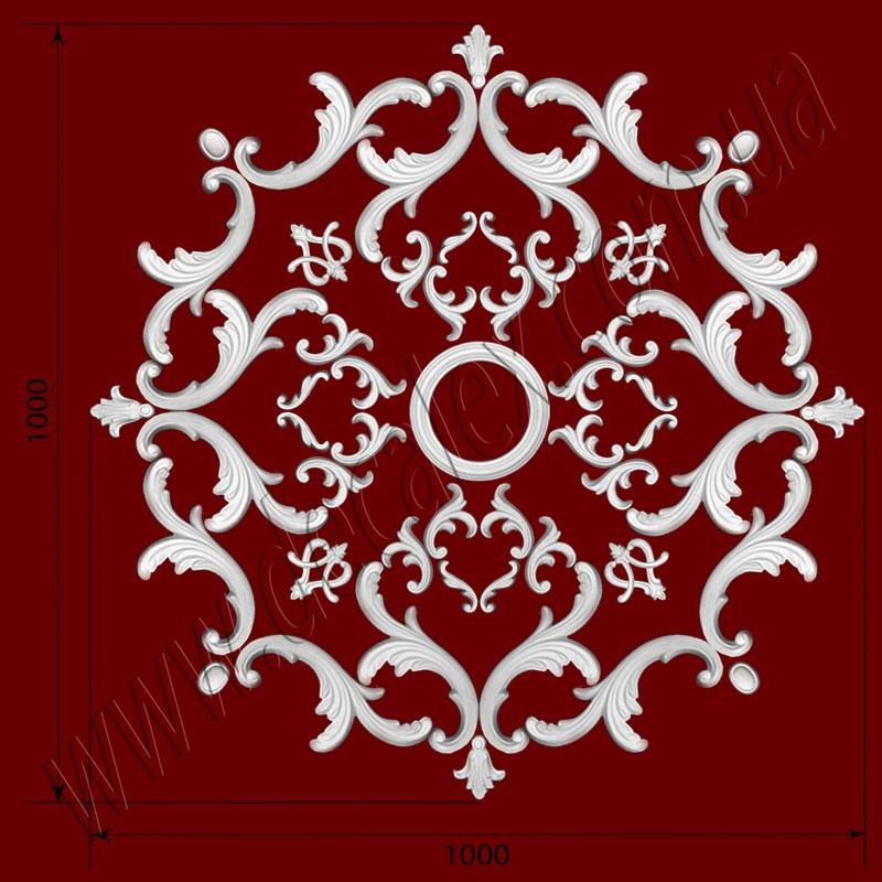 Рис. РН29. Наборная потолочная розетка составлена из элементов орнамента: ФР0004 (4шт), ФР0011 (16шт), ФР0013 (4шт), ФР0014 (4шт), ФР0019 (8шт), ФР0034 (16шт), потолочная розетка РЗ180 (1шт). Розничная цена элементов составляет 1665 грн.