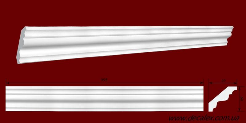 Код товара КЛ0600651. Карниз из гипса длиной 995 мм. Габариты: 60мм х 65мм. Розничная цена 95 грн/шт.