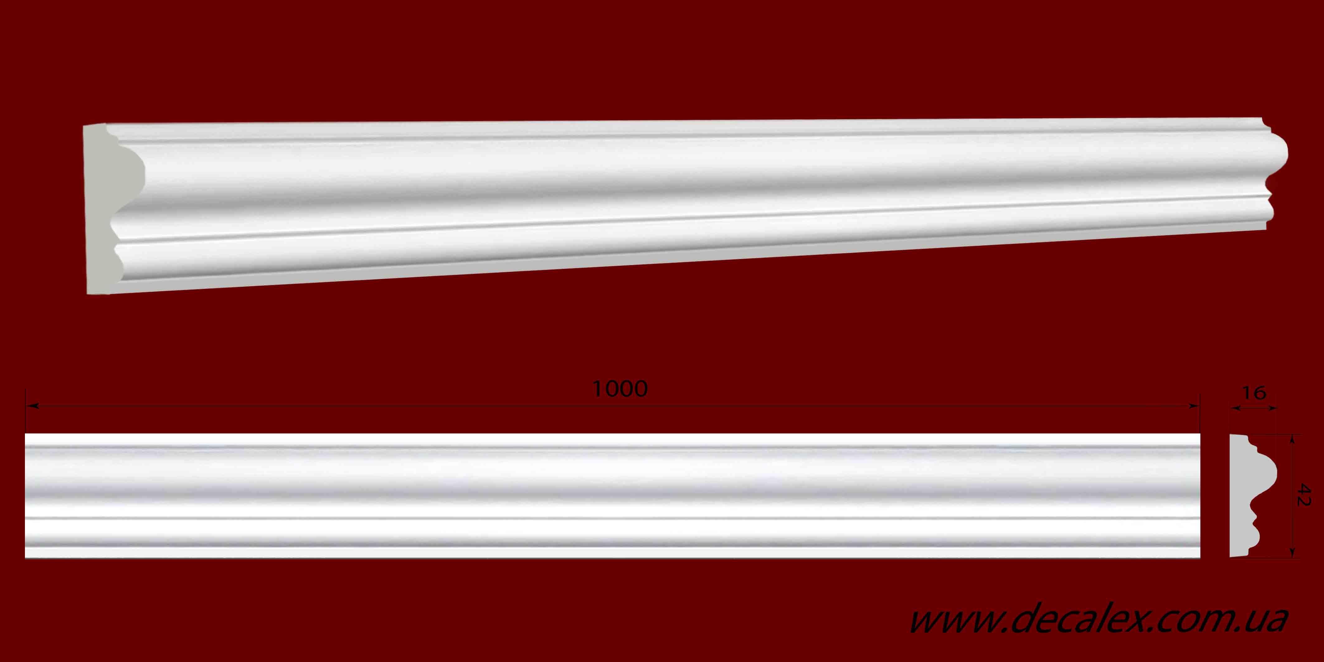 Код товара МЛ04003. Молдинг из гипса шириной 42 мм и длиной 1000 мм.. Розничная цена 60 грн./шт.