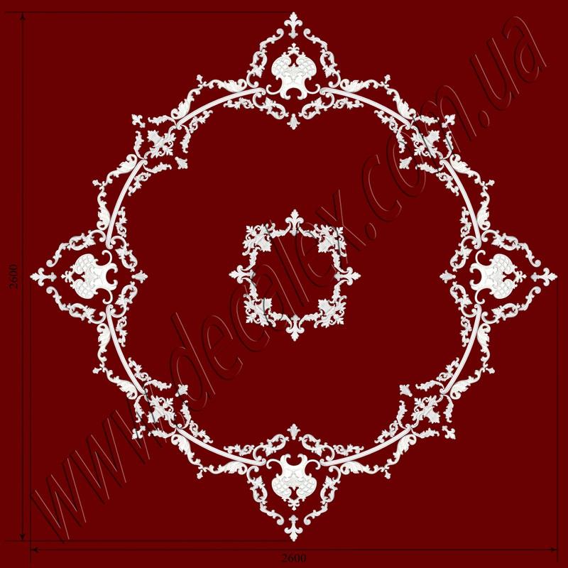 Рис. РН58. Наборная потолочная розетка составлена из элементов орнамента: ФР0009 (24шт), ФР0013 (8шт),ФР0018 (8шт), ФР0027(16шт), ФР0028 (16шт), ФР0033 (16шт), ФР0042 (8шт), ФР0052 (8шт), ФР0046 (4шт),ФР0047 (8шт), ФР0079 (4шт), ГЛ02502-5 (16шт), МЛ02502 (8шт, диаметр круга - 1800мм.). Розничная цена элементов составляет 7240 грн.