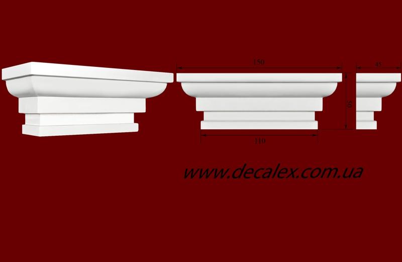 Код товара ПК1102.  Капитель из гипса для тела пилястры шириной 100...110 мм.  Розничная цена 100 грн./шт.