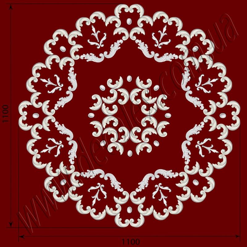 Рис. РН38. Наборная потолочная розетка составлена из элементов орнамента: ФР0014 (16шт), ФР0019 (16шт), ФР0032 (8шт), ФР0061 (84шт). Розничная цена элементов составляет 2660 грн.