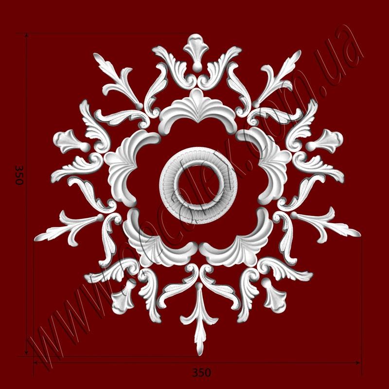 Рис. РН01.Наборная потолочная розетка составлена из элементов орнамента: ФР0041 (5шт), ФР0019 (10шт), ФР0008 (10шт), ФР0032 (5шт), ФР0018 (5шт), накладка РЗ15 (1шт). Розничная цена элементов составляет 920 грн.