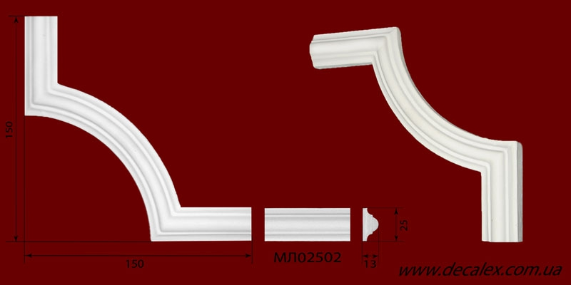 Код товара ГЛ02502-3. Угловой элемент из гипса шириной 25 мм., стыкуется с МЛ02502. Розничная цена 50 грн./шт.