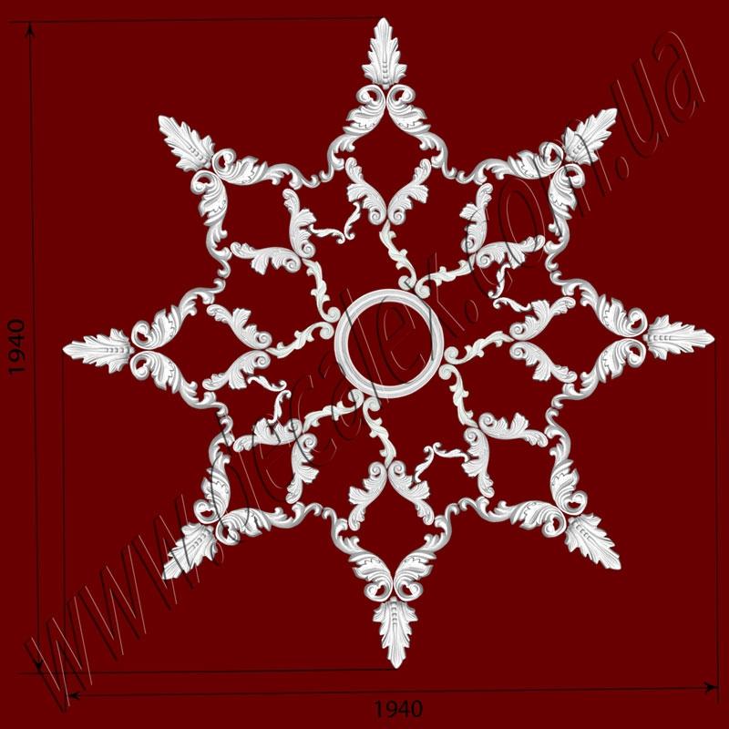 Рис. РН24. Наборная потолочная розетка составлена из элементов орнамента: ФР0010 (8шт), ФР0015 (16шт), ФР0019 (8шт), ФР0028 (16шт), ФР0052 (8шт), МЛ2502 Ø230мм. (1шт). Розничная цена элементов составляет 2200 грн.