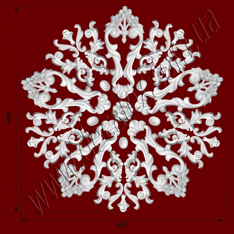 Рис. РН19. Наборная потолочная розетка составлена из элементов орнамента: ФР0014 (5шт), ФР0018 (5шт), ФР0019 (10шт), ФР0020 (1шт), ФР0033 (10шт), ФР0050 (5шт). Розничная цена элементов составляет 920 грн.